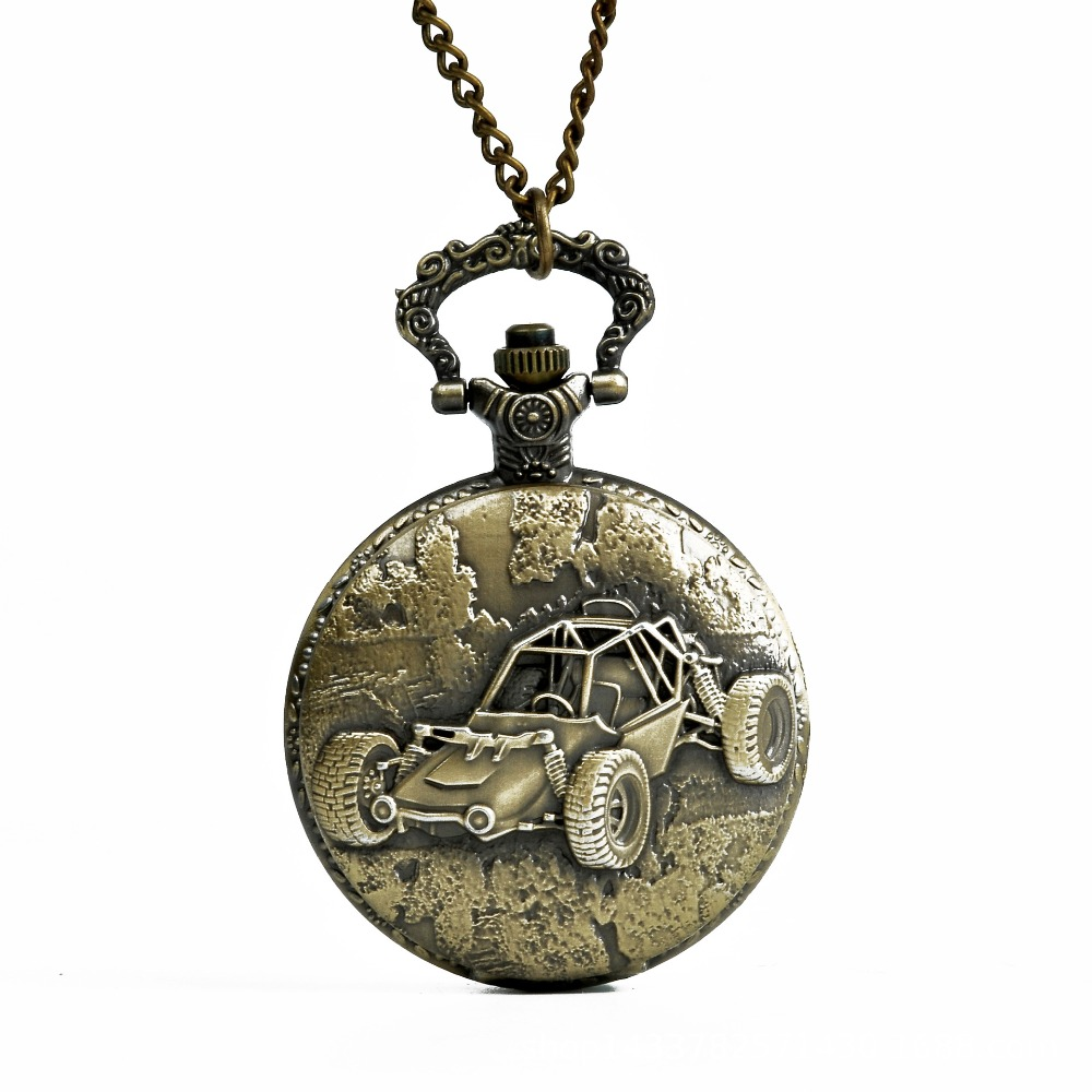 Watch Men Antique Car Desgin Pendant Quartz Pocket Watch Vintage Necklace Chain Men Boys New Gift