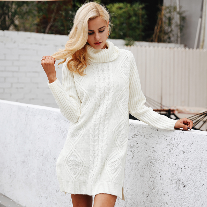 Simplee Turtleneck high split knitting pullover Autumn winter long sleeve leisure sweater dress women pull streetwear jumper 3