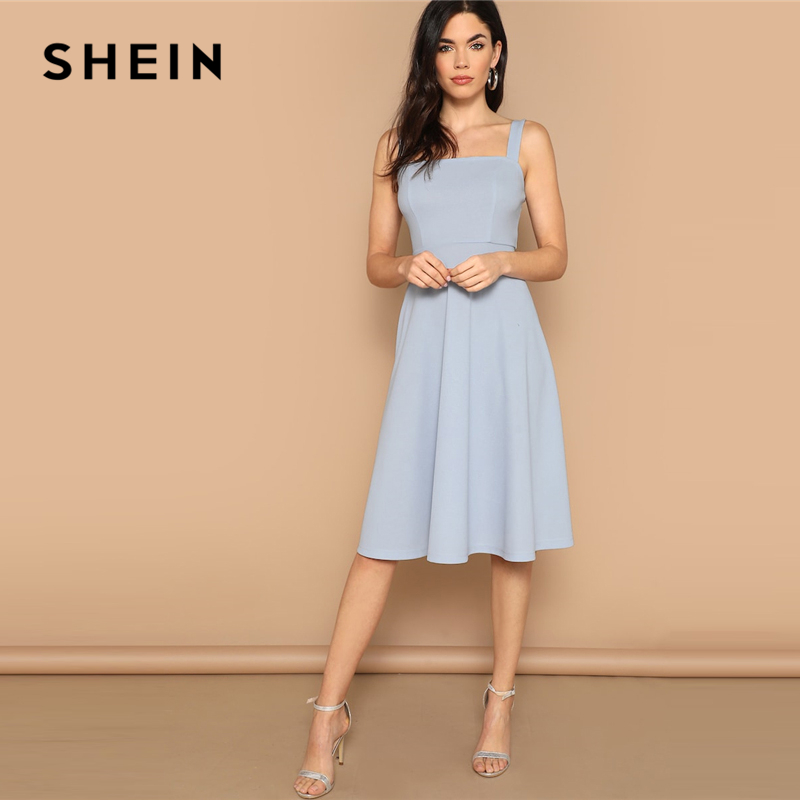SHEIN Blue Zip Back Fit and Flare Tank Midi Dress 2019 ...