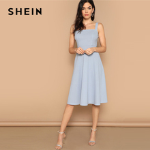 SHEIN Blue Zip Back Fit and Flare Tank Midi Dress 2019 Spring A Line Fit And Flare High Waist Sleeveless Elegant Dresses
