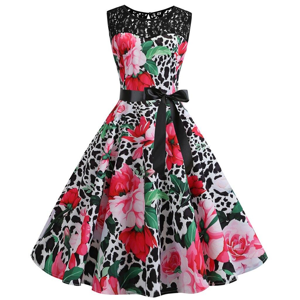 Feiong 2020 Dress Women Vestidos Verano Women Vintage Retro Sleeveless Lace Splice Printing Party Prom Swing Dress