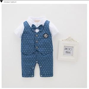 Image 4 - Blue Dot Baby Boys Rompers Tuxedo Gentleman Costume Baby Jumpsuits Jacket Vest Cotton Boy Clothes Outfits Newborn Evening Dress