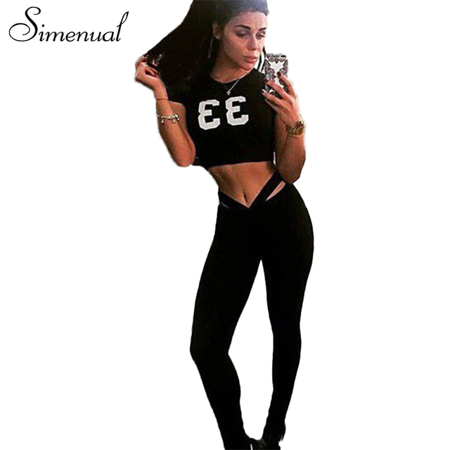 Simenual 2017 New arrival athleisure tracksuit for women t-shirts+leggings sets sportsuits crop top sexy hot print jeggings sale