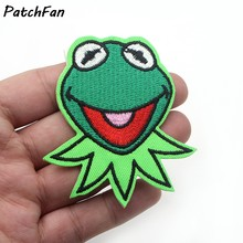 A0117 Kermit the Frog Face Patch Muppets Show Character Craft Apparel Iron-On Applique(China)