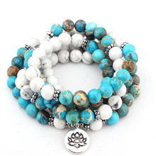 Fashion women bracelet 108 mala yoga Howlite Natural Stone with Lotus charm Bracelet