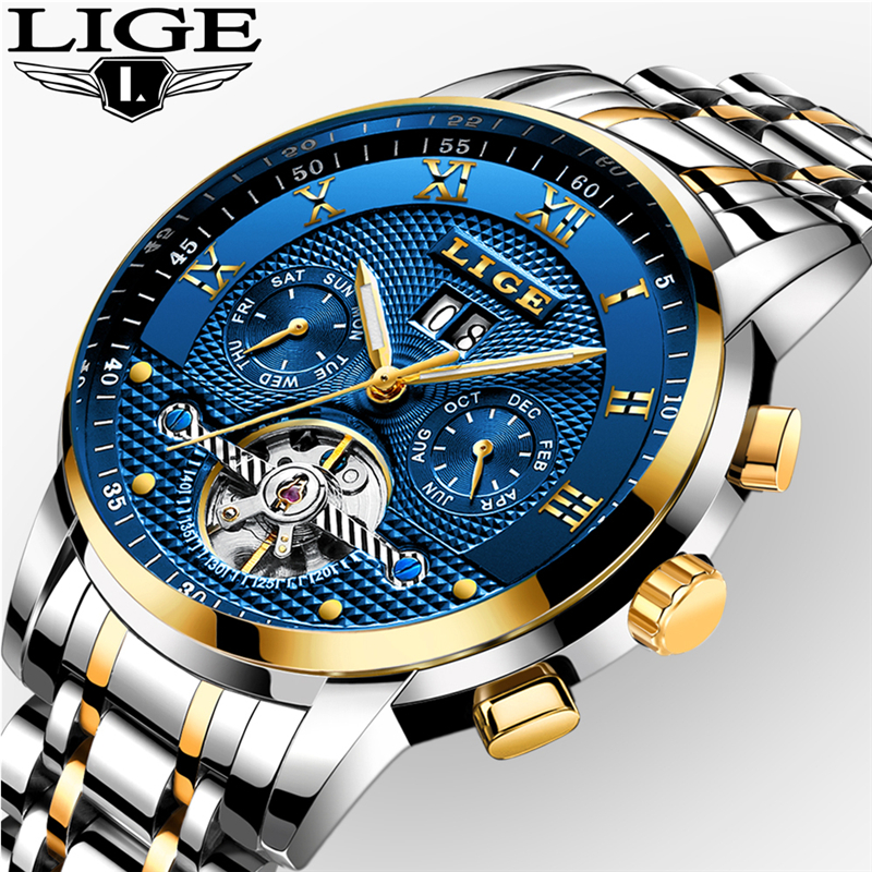LIGE Mens Watches Top Brand Luxury Automatic Mechanical Watch Men Full Steel Business Sport Waterproof Watches Relogio Masculin unique smooth case pocket watch mechanical automatic watches with pendant chain necklace men women gift relogio de bolso