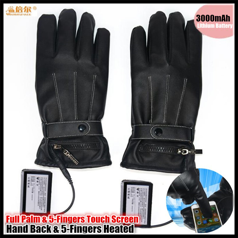 10p 3000MAH Electric Heating Palm Touch Screen PU Leather Gloves,Ski Waterproof Lithium Battery Hand Back&5 Finger Self Heated