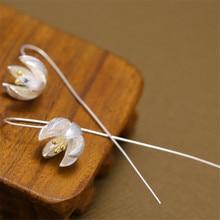 YKNRBPH S925 Sterling Silver Lotus Flower Earrings Fashion long Drop Earring High Quality Elegant Ladys  Accessories