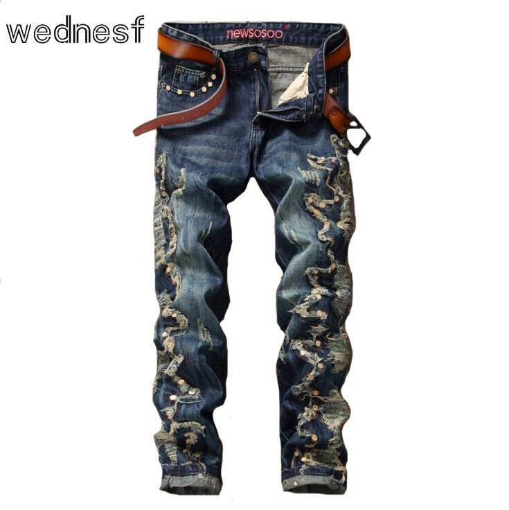 #1945 Patchwork Rivet Mens biker jeans Fashion jean homme Straight Motorcycle jeans Punk Hip hop jeans Fake designer clothes