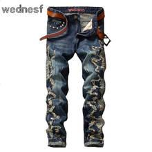 #1945 Лоскутное Заклепки Мужские байкерские джинсы Моды жан homme Прямые Мотоцикла джинсы Панк Hip hop джинсы Поддельные дизайнер одежды