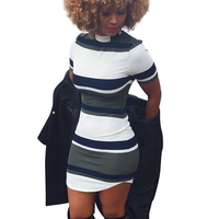 DeRuiLaDy 2018 Fashion Women Summer Dress Short Sleeve Sexy Mini Bodycon Dresses Striped Print Midi Dress
