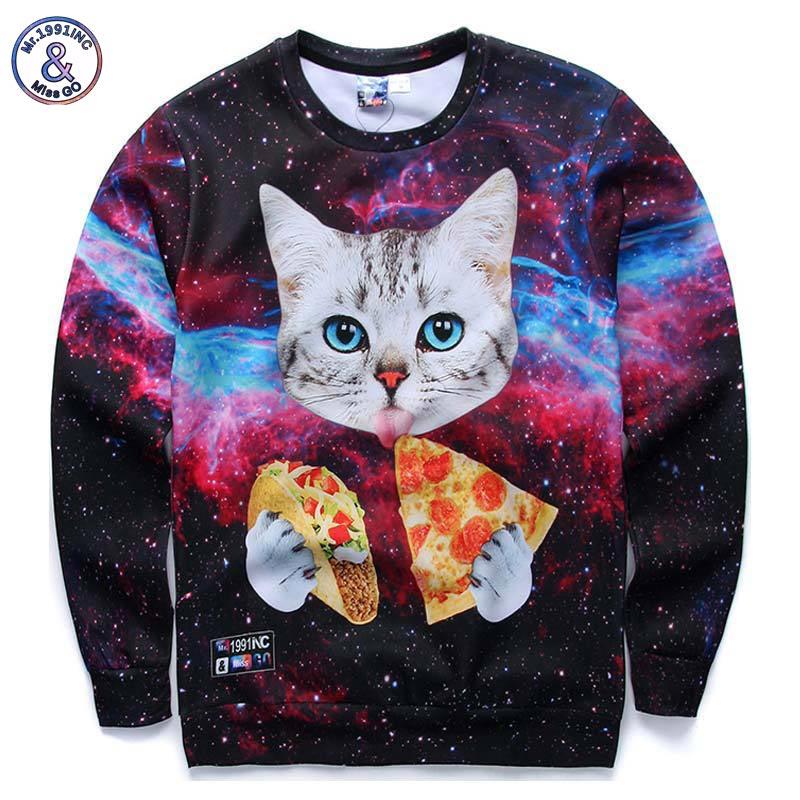Mr.1991INC New Galaxy 3d sweatshirts for men/women casual hoodies funny print stars night cat eating Pizza hoodies