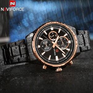 Image 3 - NAVIFORCE Relogio Masculino Herrenuhren Top marke Luxus Schwarz Stahl Quarzuhr Männer Casual Sport Chronograph Armbanduhr