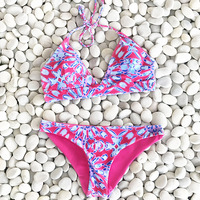 Cupshe Women Pink Halter Swimsuit Brazilian Bikini Set Beach Bathing Suit Push Up Swimwear Biquini Swimwear