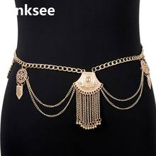 Gypsy Sexy Women Sequin Coins Body Waist Chain Bohemian Gold color Tassel Belt Jewelry For Indian Dance Belly Chains crystal studded wide waist chain adjustable length roman wedding jewelry luxurious women gold color rhinestone belly chains belt