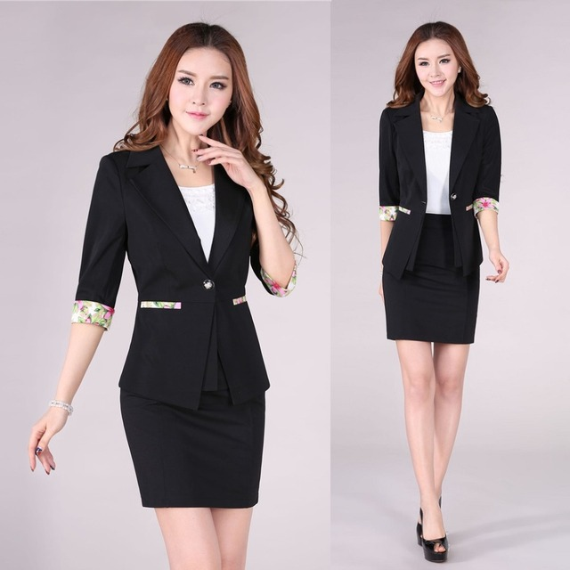 bc4337dd087 New 2015 Spring Summer Formal Women Skirt Suits Blazer Sets Elegant Female  Office Uniform Styles Ladies Work Wear Set
