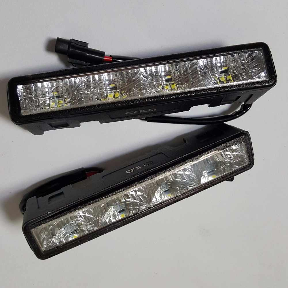 CNLM High quality 2 pcs car drl Daytime Running Light front daylight 4 LED fog lamp waterproof dimmer flash E4 R87 ECE RL00