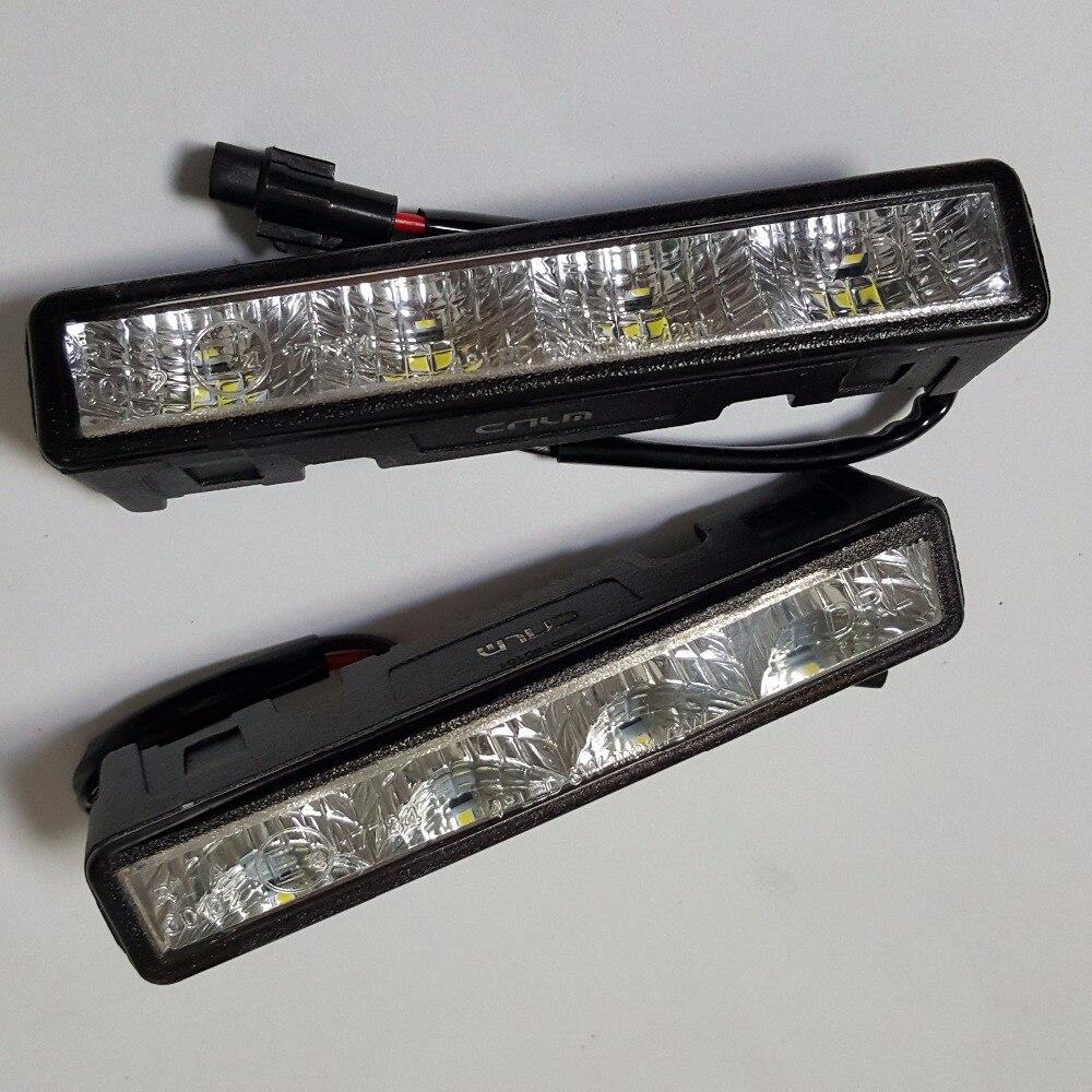 CNLM High Quality 2 Pcs Car Drl Daytime Running Light Front Daylight 4 LED Fog Lamp
