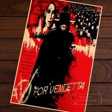 V para Vendetta promover la venganza privada Vintage Retro afiche decorativo DIY lienzo de pared pintura pegatina carteles decoración del hogar regalo