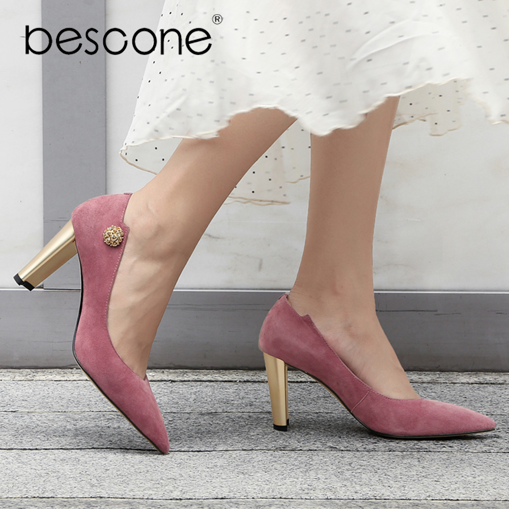BESCONE Woman Work Pumps Luxury Pointed Toe High Quality Metal High Heels Shoes Comfortable Matching Party