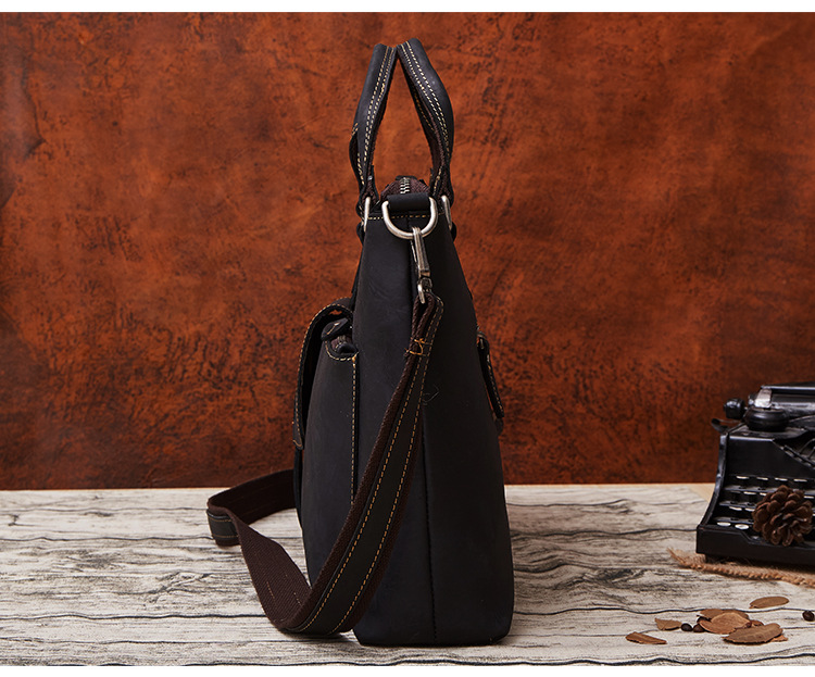 YUPINXUAN Europe Vintage Cow Leather Handbags Men Luxury Crazy Horse Leather Briefcases Retro 14″ Real Leather Laptop Hand Bags