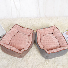 CAWAYI KENNEL Cotton Linen Corn Kernels Pet Dog Cat Bed for Small Medium Bed House Cushion With Removable Pet Mat Nest D1129