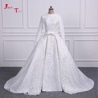 Jark Tozr Long Sleeve Lace China Bridal Gowns Vestidos De Renda All Over Pearls Luxury Muslim Wedding Dresses Detachable Train