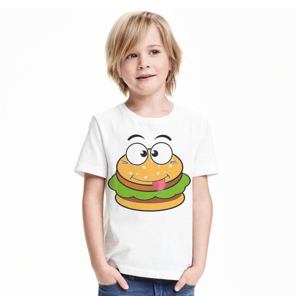 Обувь для мальчиков футболка гамбургер картофель фри с милым рисунком футболка для девочек Забавные Best друзья футболки с коротким рукавом ...