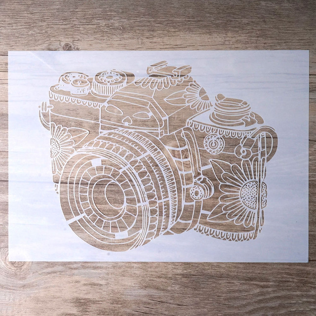 A4 Camera Mandala Stencil for DIY Crafts and Decoration