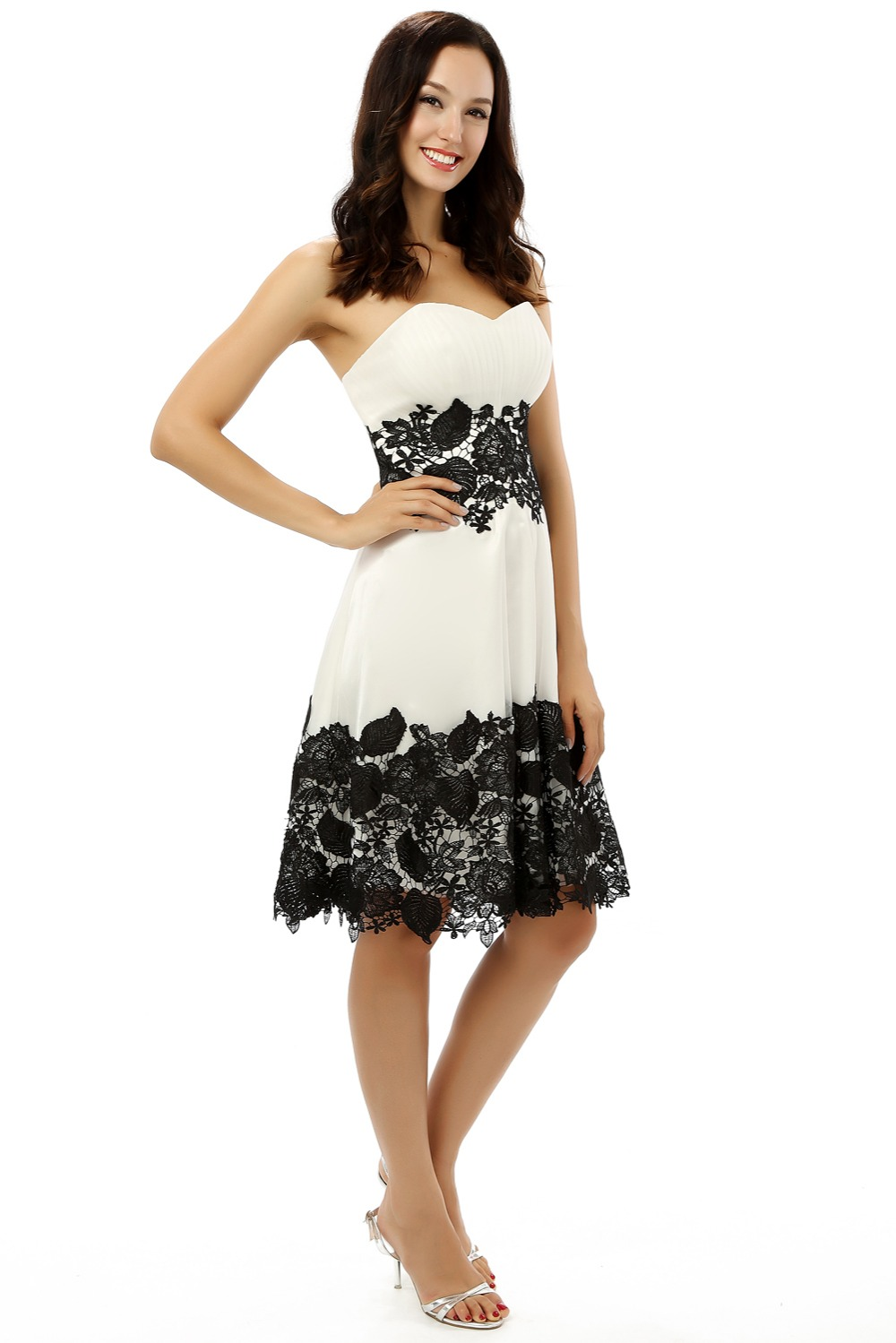 White Black Homecoming Dresses A line Sweetheart Satin Lace Knee ...