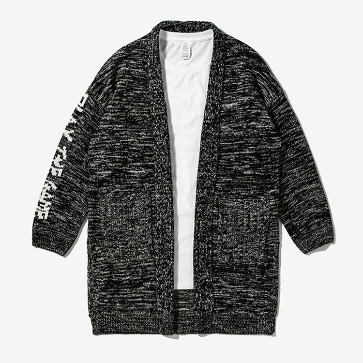 Aolamegs Men's Sweater Fashion High Street Knitted Cardigan English jacquard Sweater Homme Casual Long Style Knitting Jacket (2)
