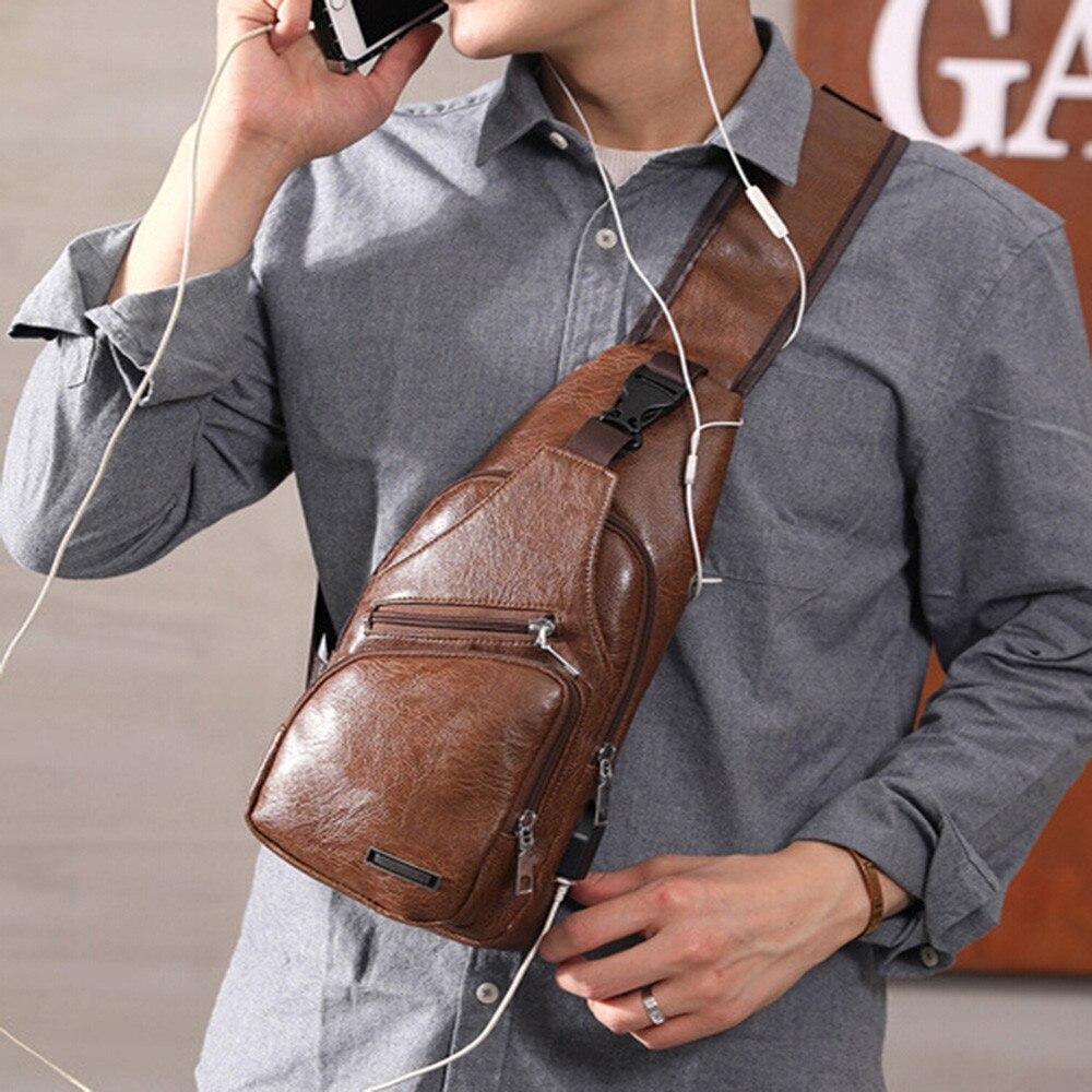 2019 Luxus Mens Schulter Tasche Lade Sport Usb Hohe Qualität Brust Tasche Hot Outdoor Leder Paket Bolsos Hombre