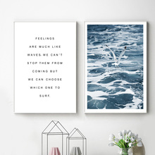 Sea Wave Bird Quotes Wall Art Canvas Painting Nordic Posters And Prints Canvas Prints Wall Pictures For Living Room Home Decor nordic bird canvas art prints and posters monochrome canvas painting wall art picture for living room home decor
