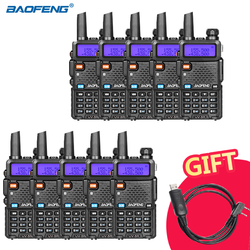 10pcs lot BAOFENG UV 5R Walkie Talkie For Hunting UHF VHF Dual Band CB Ham Radio