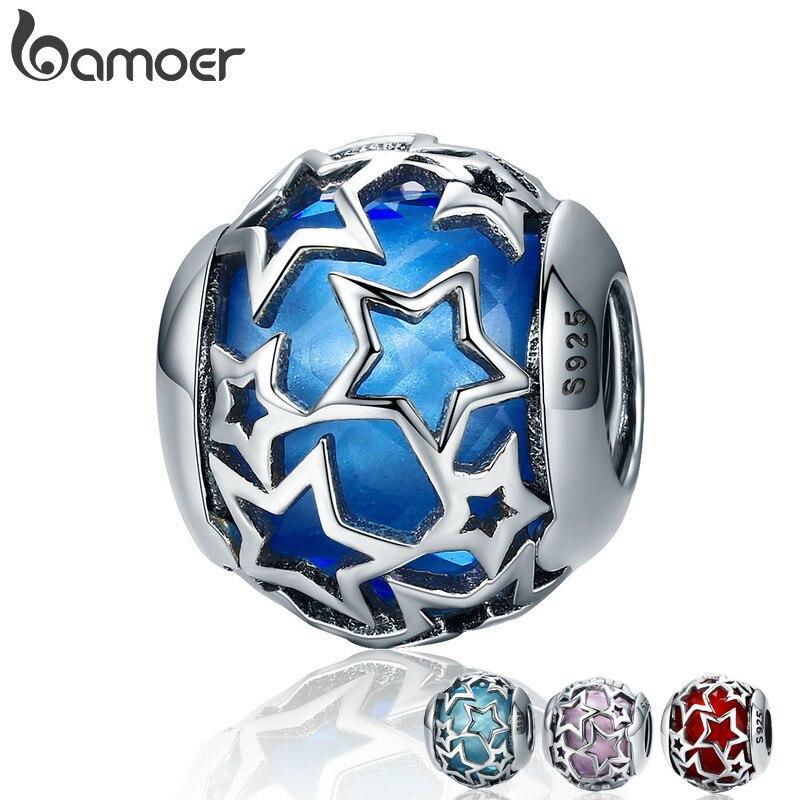 BAMOER Venta caliente 100% de Plata de Ley 925 4 colores brillante estrella de cristal CZ cuentas de las mujeres pulseras y brazaletes de la joyería SCC511