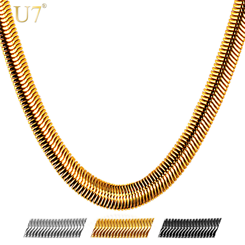 U7 Snake Chain Hip Hop Jewelry For Men Necklace Wholesale Gold Color Stainless Steel Male Gift Rock Kpop Rapper Necklace N565 collare figaro link chain for men gift gold black color 316l stainless steel necklace men jewelry wholesale n505