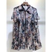 EXCOSMIC Новое поступление Подиумные дизайнерские цветочные принты женские рубашки с длинным рукавом Повседневные весенние оборки рубашки с в