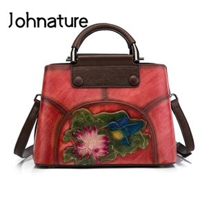 Image 2 - Johnature Handmade Embossing Genuine Leather Women Bag Handbags 2020 New Cow Leather Vintage Floral Shoulder&Crossbody Bags