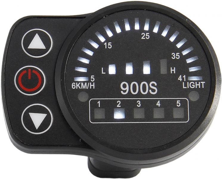 Ebike 24V/36V/48V KT LED900S LED Display Intelligent Meter Black Control Panel With 5 Pins Plug For KT Controller