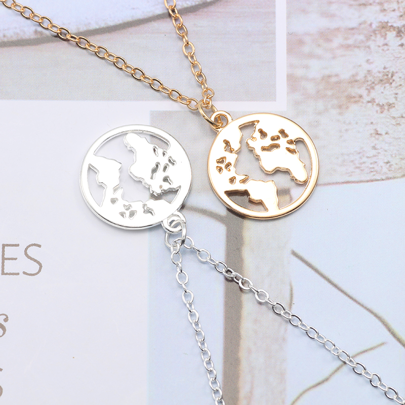 Classic Geometric Circle World Map Pendant Necklace Men And Women Fashion Simple Alloy Single Layer Neck Chain Clavicle Chain in Pendant Necklaces from Jewelry Accessories
