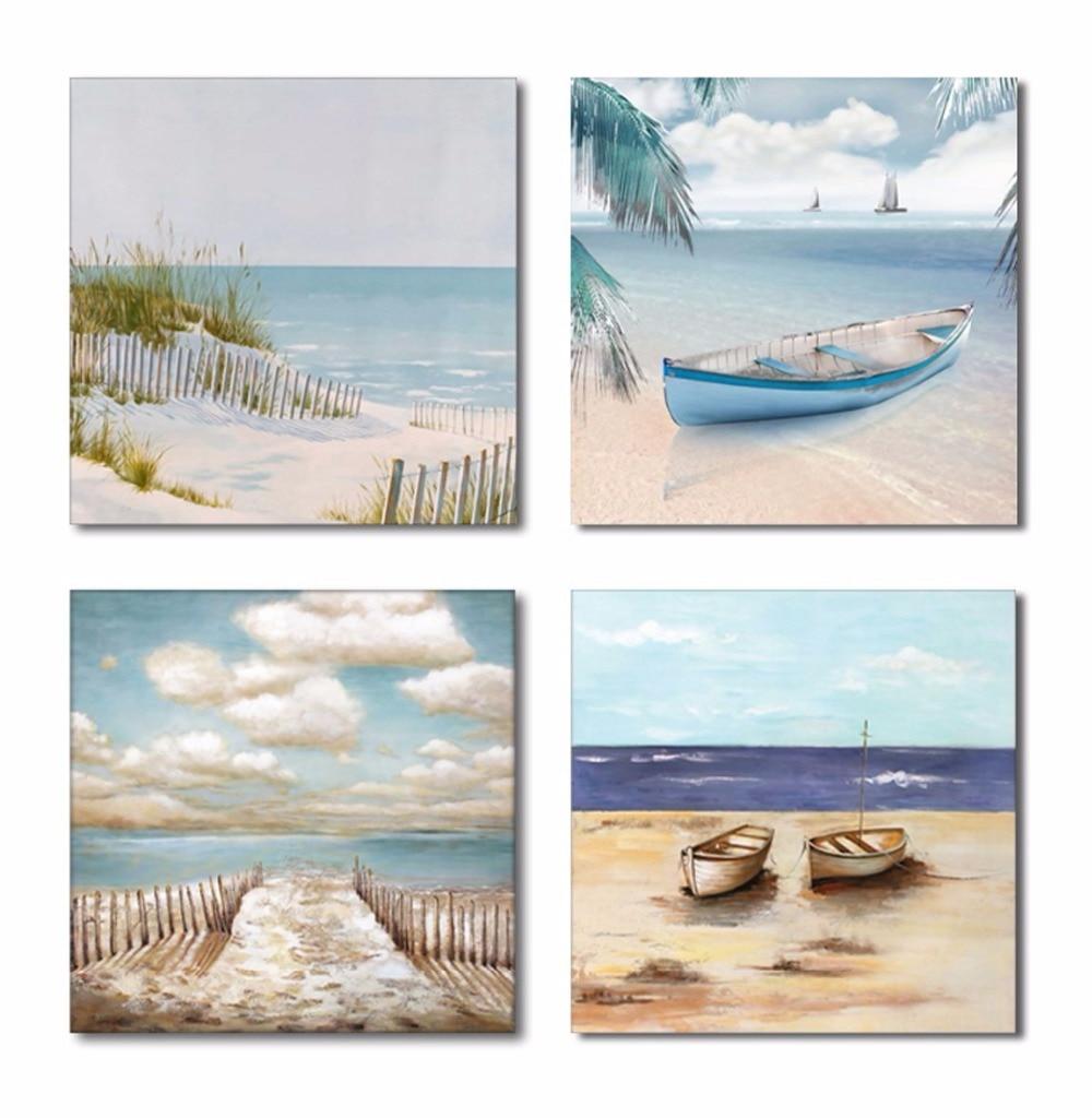 Modern Canvas Print Painting Wall Art Sailboat Sun Sea Beach Picture Home Decor