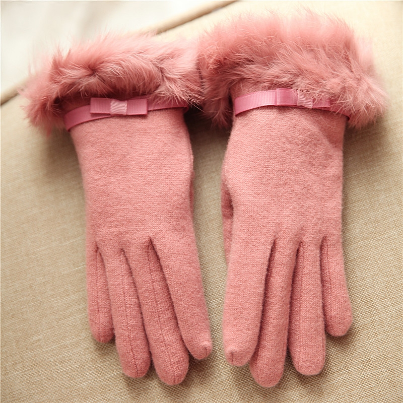 2018 Winter Women Knitted Wool Gloves Wrist Rabbit Hair Bow knot Solid Color Keep Warm Fashion Five Fingers Lady Glove T009