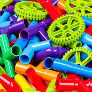 Image 2 - 38 306pcs חינוכיים DIY צינור מים אבני בניין הרכבת צינור מנהרת פלסטיק בלוקים צעצועים לילדים מתנות
