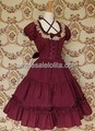Deep Red Bow Lace Cotton Clássico Vestido Lolita
