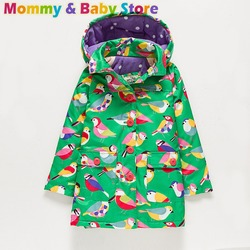 For 2-8 years old Girls Long Jacket Coat Autumn Brand Trench for Girl Thicken Windbreaker Green Bird Printed Children Clothes