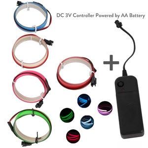 V Bateria 2AA 5 3 Cores 1 m Neon Luz Brilho EL Wire Rope fita Cabo Tira Conduzida Luz Fria tampa Do Carro decorar Fita Lâmpada