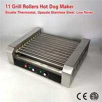 Electric Hot Dog Maker Commercial Hot dog Sausage Grill Roasting Machine 11 rollers 2200W Low Noise 2 Temperature Controllers