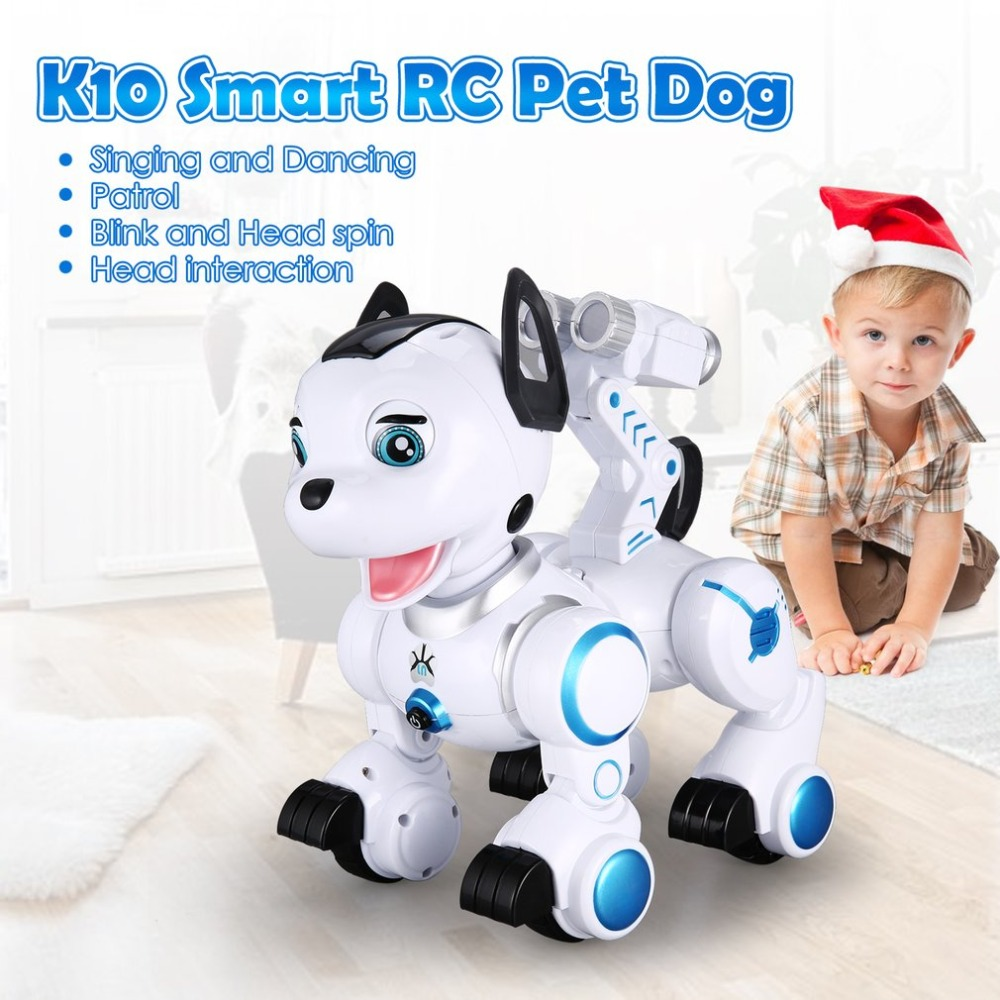 K10 Smart RC Dog Dance Head Spin Blink Patrol Remote Control intelligent Robot Dog Electronic Pet Toy Kid Gift RC Robot Hobby pet safe electronic shock vibrating dog training collar with remote control 2 x aaa 1 x 6f22 9v
