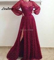 Arabe Bourgogne Robes De Soirée Formelle Robes De Soirée Robe De Festa Avec Longues Manches Haut de Split Côté Femmes Parti Robe Abiye