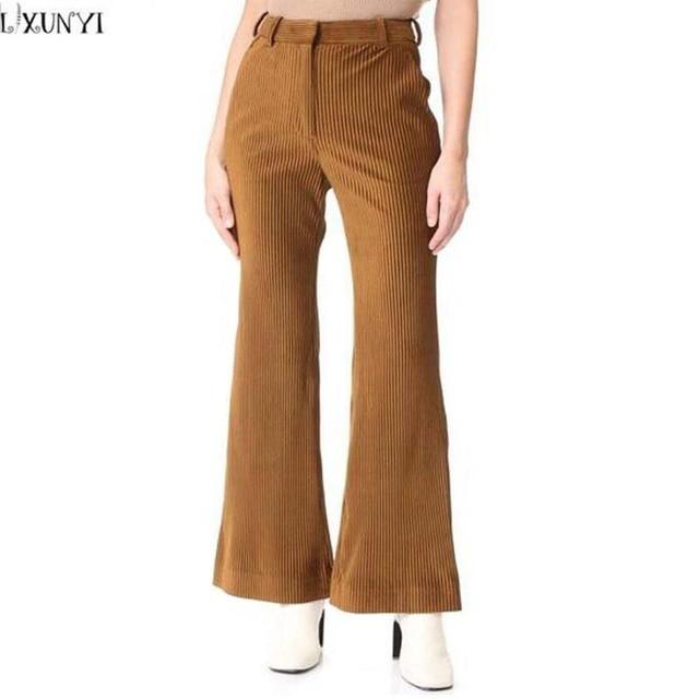 LXUNYI Autumn Winter New Corduroy Pants Womens High Waisted Flare Pants  Woman Plus Size Dark Khaki Casual Trousers Women S-3XL 0b5ebda2bb